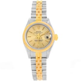Rolex Datejust 69173 Stainless Steel & 18K Yellow Gold Champagne Dial Automatic 26mm Womens Watch