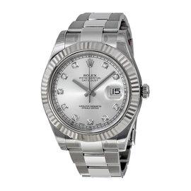 Rolex Datejust II 116334 18K White Gold Fluted Bezel Oyster Bracelet Mens Watch