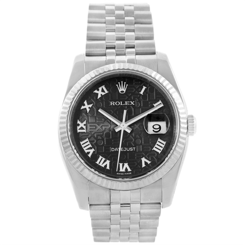 """Image of """"Rolex Datejust 116234 Stainless Steel / 18K White Gold Black Roman"""""""