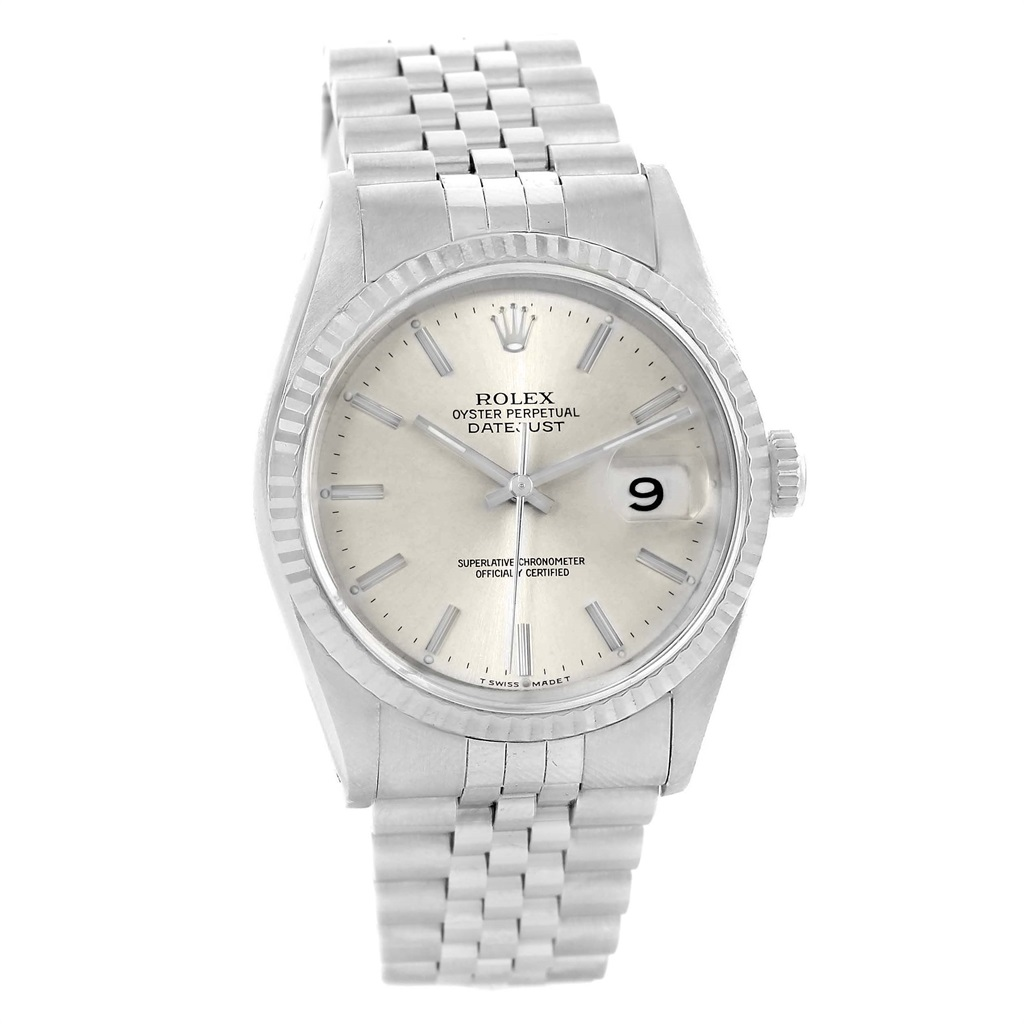 """Image of """"Rolex Datejust 16234 Stainless Steel White Gold Silver Baton Dial 36mm"""""""