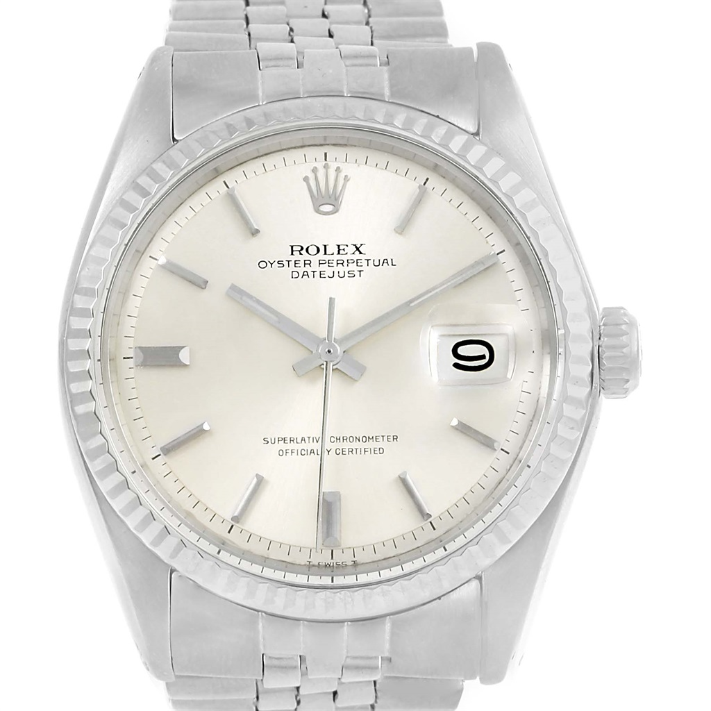 """Image of """"Rolex Datejust 1601 Stainless Steel & Silver Dial Vintage 34mm Mens"""""""