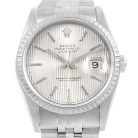 Rolex Datejust 16220 Stainless Steel & Silver Tapestry Dial Automatic 36mm Mens Watch