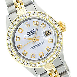 Rolex Datejust 69173 Mop Diamond Two Tone Watch