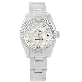 Rolex Datejust 179174 Stainless Steel 18K White Gold Mother of Pearl Diamond Dial 26mm Womens Watch