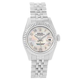 Rolex Datejust 179174 Stainless Steel & 18K White Gold MOP Diamond Dial Automatic 26mm Womens Watch