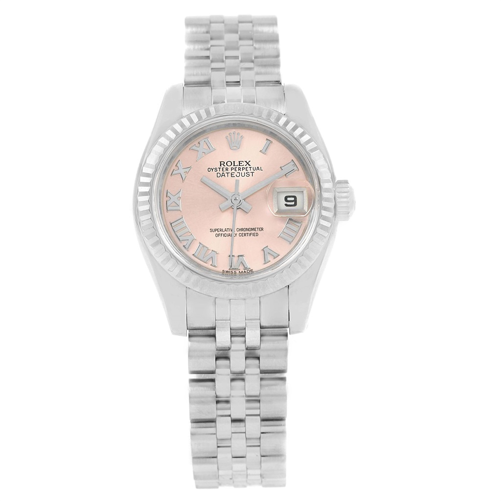 "Image of ""Rolex Datejust 179174 Stainless Steel & Rose Dial 26mm Womens Watch"""