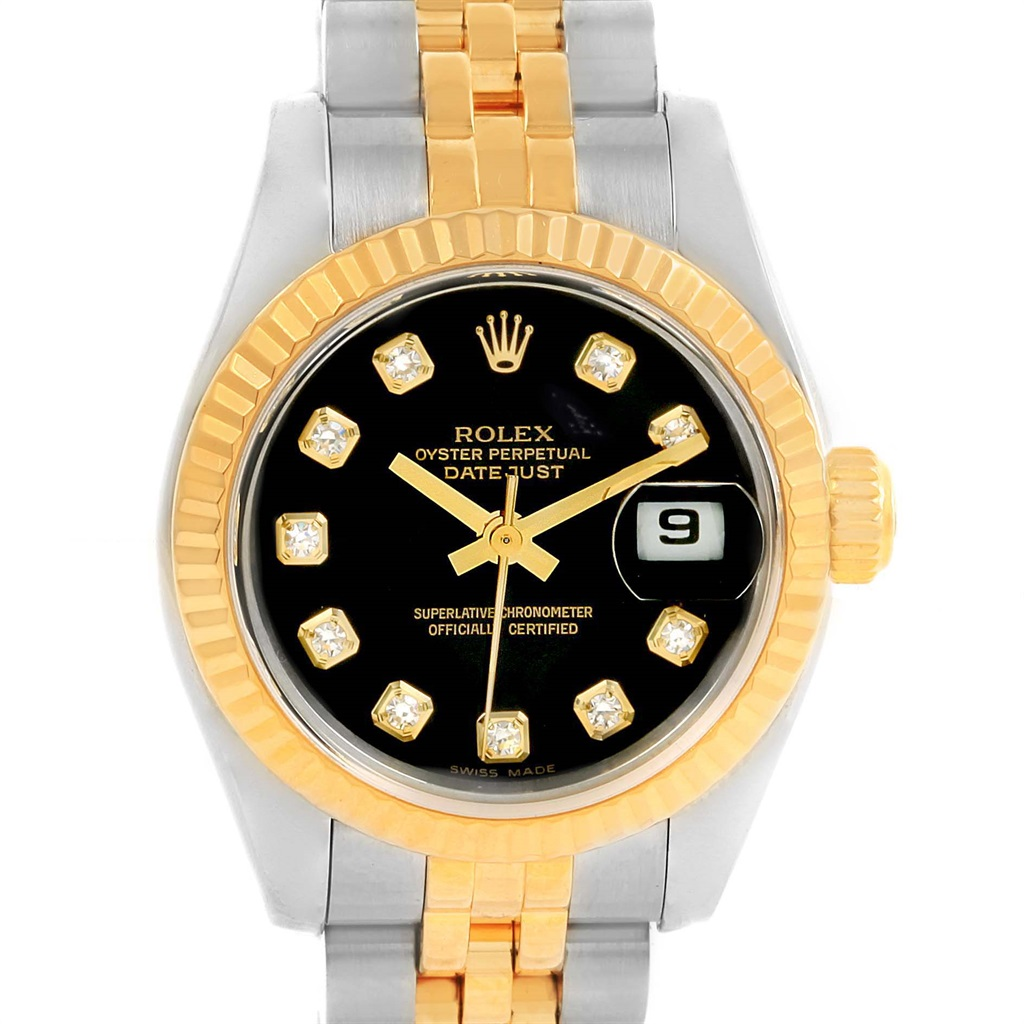 "Image of ""Rolex Datejust 179173 Stainless Steel & 18K Yellow Gold Black Diamond"""