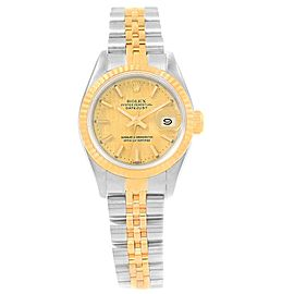 Rolex Datejust 69173 Stainless Steel & 18K Yellow Gold Champagne Dial 26mm Womens Watch
