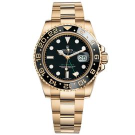 Rolex GMT-Master II 18K Yellow Gold Watch Black Ceramic Bezel 116718