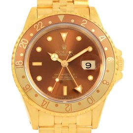 Rolex GMT Master Rootbeer 16718 18K Yellow Gold Dial 40mm Mens Watch
