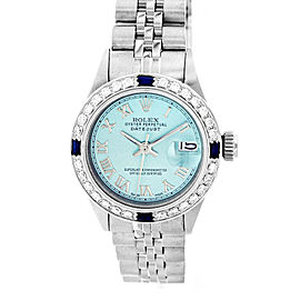 Rolex Datejust 69174 18K White Gold & Stainless Steel Ice Blue Diamond Dial & Sapphire 26mm Womens Watch
