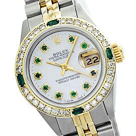 Rolex Datejust 69173 26mm Mop Diamond Emerald Two-Tone Watch
