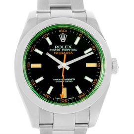 Rolex Milgauss 116400V Stainless Steel Black Dial Green Crystal 40mm Mens Watch