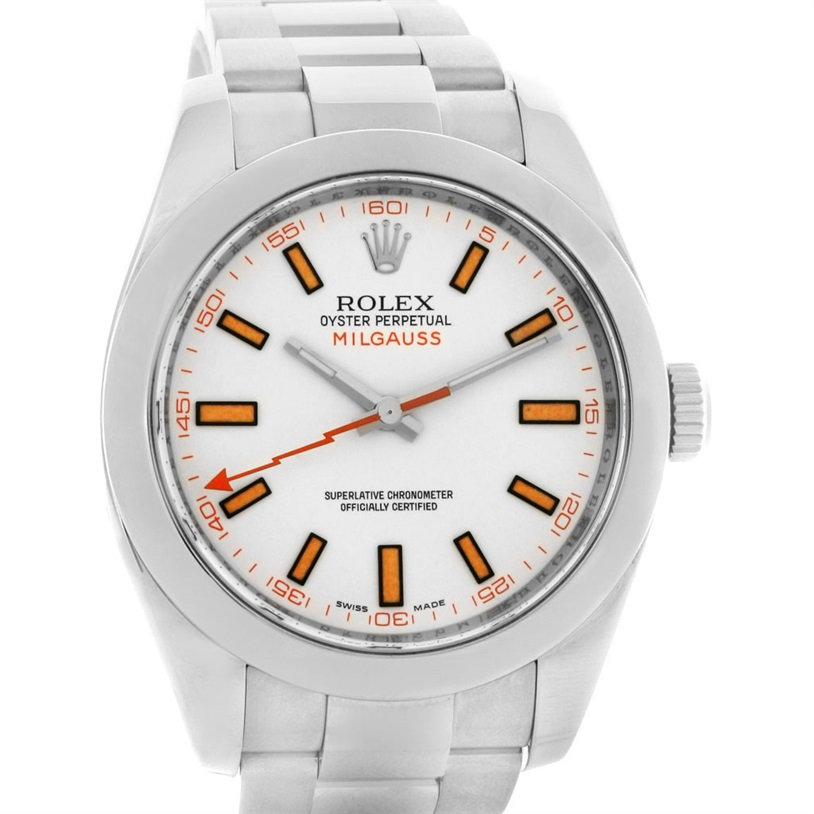 "Image of ""Rolex Milgauss 116400 Stainless Steel White Dial 40.0 mm Mens Watch"""