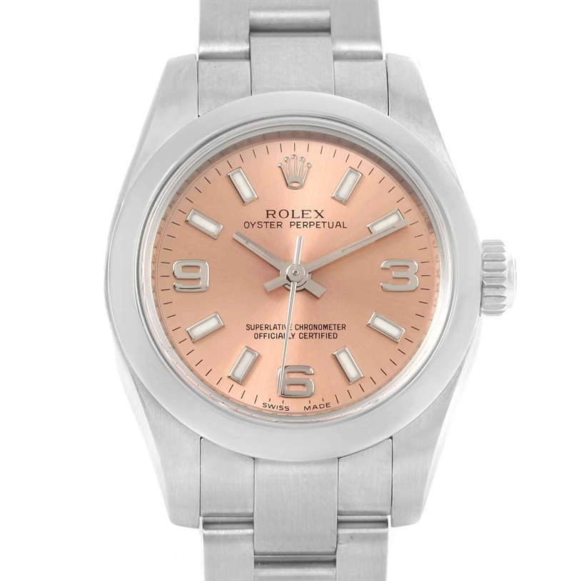 "Image of ""Rolex Oyster Perpetual 176200 Stainless Steel Salmon Dial 24mm Womens"""