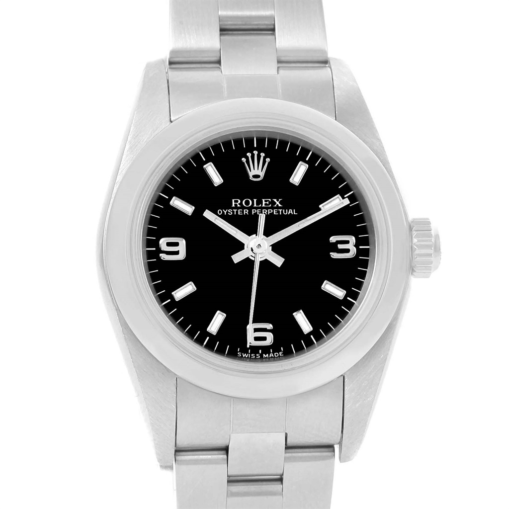 """Image of """"Rolex Oyster Perpetual 76080 Stainless Steel Black Dial Automatic 24mm"""""""