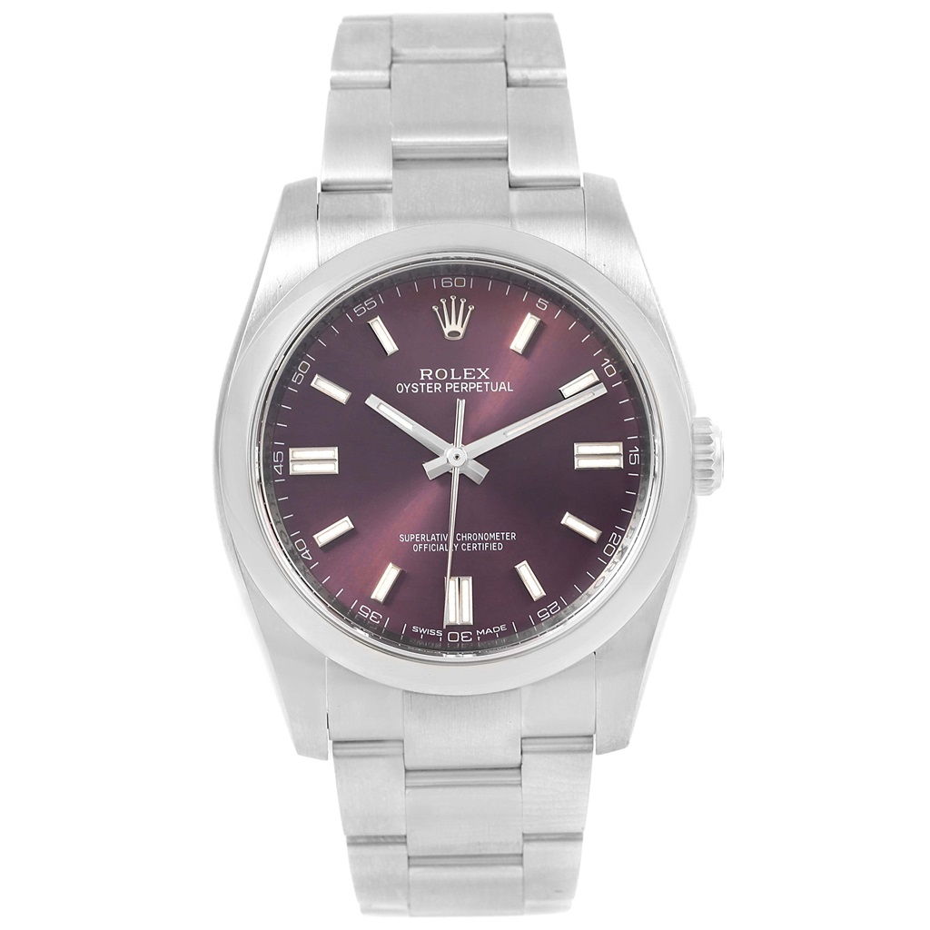 "Image of ""Rolex Oyster Perpetual 116000 Stainless Steel Red Grape Dial Automatic"""