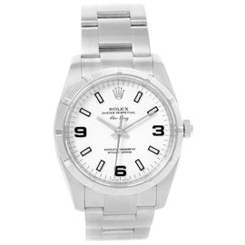 Rolex Oyster Perpetual Air King 114210 Stainless Steel White Roman Dial Automatic 34mm Mens Watch