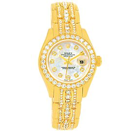 Rolex Pearlmaster 80298 Yellow White and Rose Gold 29mm Womens Watch