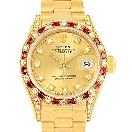 Rolex Datejust 69198 18K Yellow Gold Diamond & Ruby 26mm Womens Watch