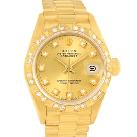 Rolex Datejust 69258 President 18K Yellow Gold Pyramid Diamond Bezel 26mm Womens Watch