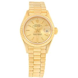 Rolex Datejust 69178 18K Yellow Gold & Champagne Tapestry Dial 26mm Womens Watch
