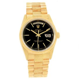 Rolex Day-Date 18078 18K Yellow Gold & Black Dial 36mm Mens Watch