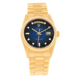 Rolex Day-Date 18238 18K Yellow Gold & Blue Vignette Diamond Dial 36mm Mens Watch