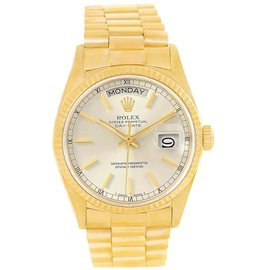 Rolex Day-Date 18038 18K Yellow Gold & Silver Dial 36mm Mens Watch
