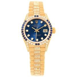Rolex Datejust 69038 18K Yellow Gold with Diamond & Sapphire Automatic 26mm Womens Watch