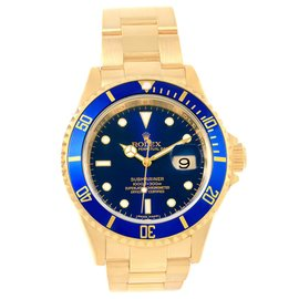 Rolex Submariner 16618 18K Yellow Gold Blue Dial Automatic 40mm Mens Watch