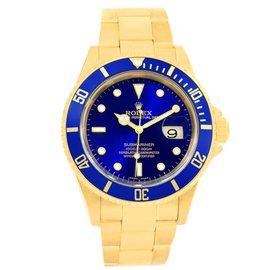 Rolex Submariner 16618 18K Yellow Gold Blue Dial 40mm Mens Watch