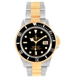 Rolex Submariner 16803 Stainless Steel and 18K Yellow Gold Black Dial 40mm Mens Watch