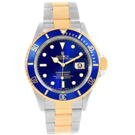 Rolex Submariner 16613 Stainless Steel & 18K Yellow Gold Blue Dial 40mm Mens Watch