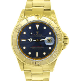 Rolex Yachtmaster 16628 18K Yellow Gold Blue Dial Mens Watch