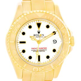 Rolex Yachtmaster 68628 18K Yellow Gold White Dial 35mm Mens Watch