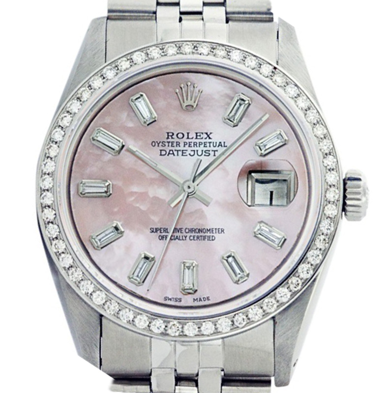 """Image of """"Rolex Datejust 16014 36mm Stainless Steel Pink MOP Diamond Baguette"""""""