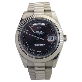 Rolex Oyster Perpetual Day Date II White Gold Brown Dial Watch