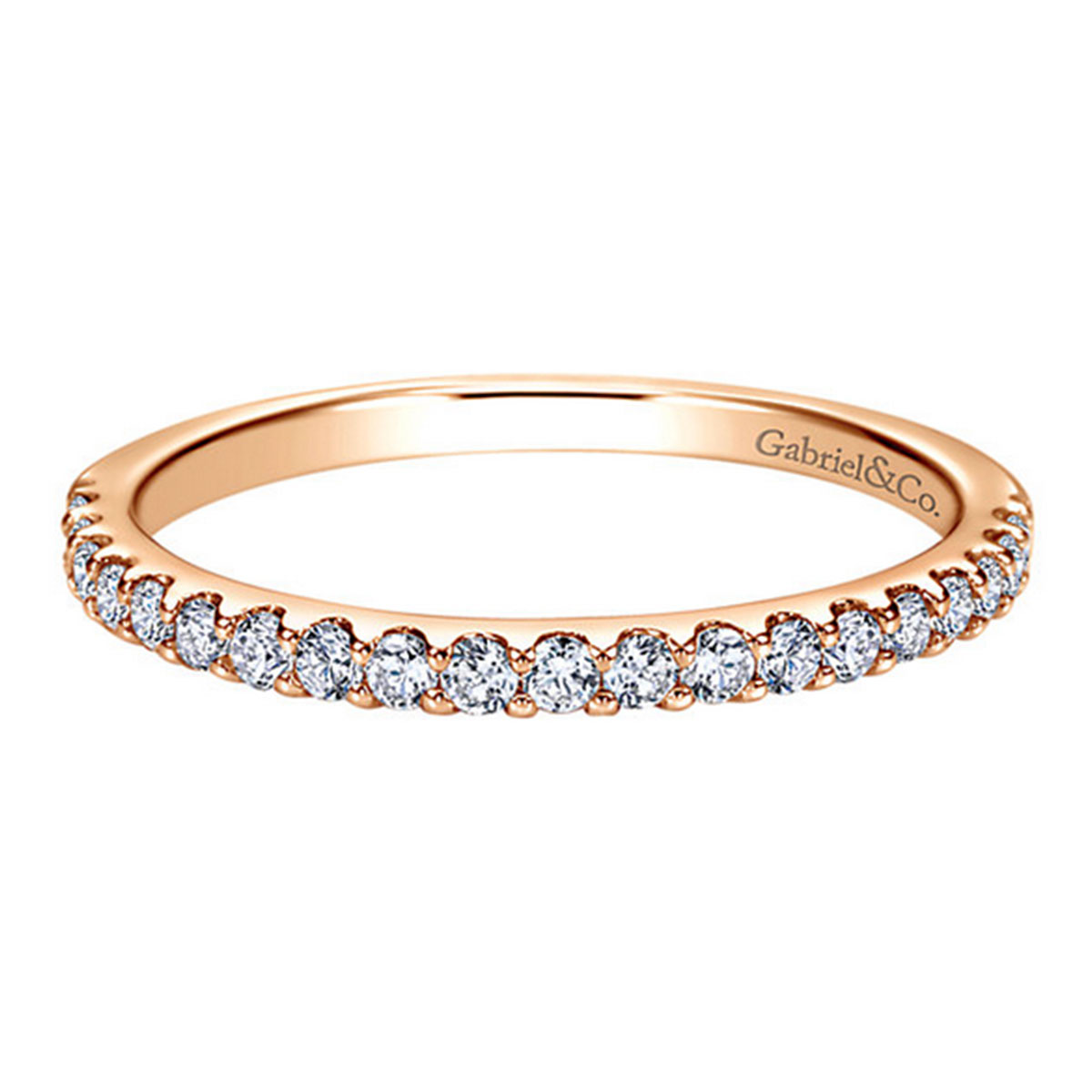 "Image of ""Gabriel & Co. 14K Rose Gold & 0.31ct. Diamond Straight Wedding Band"""