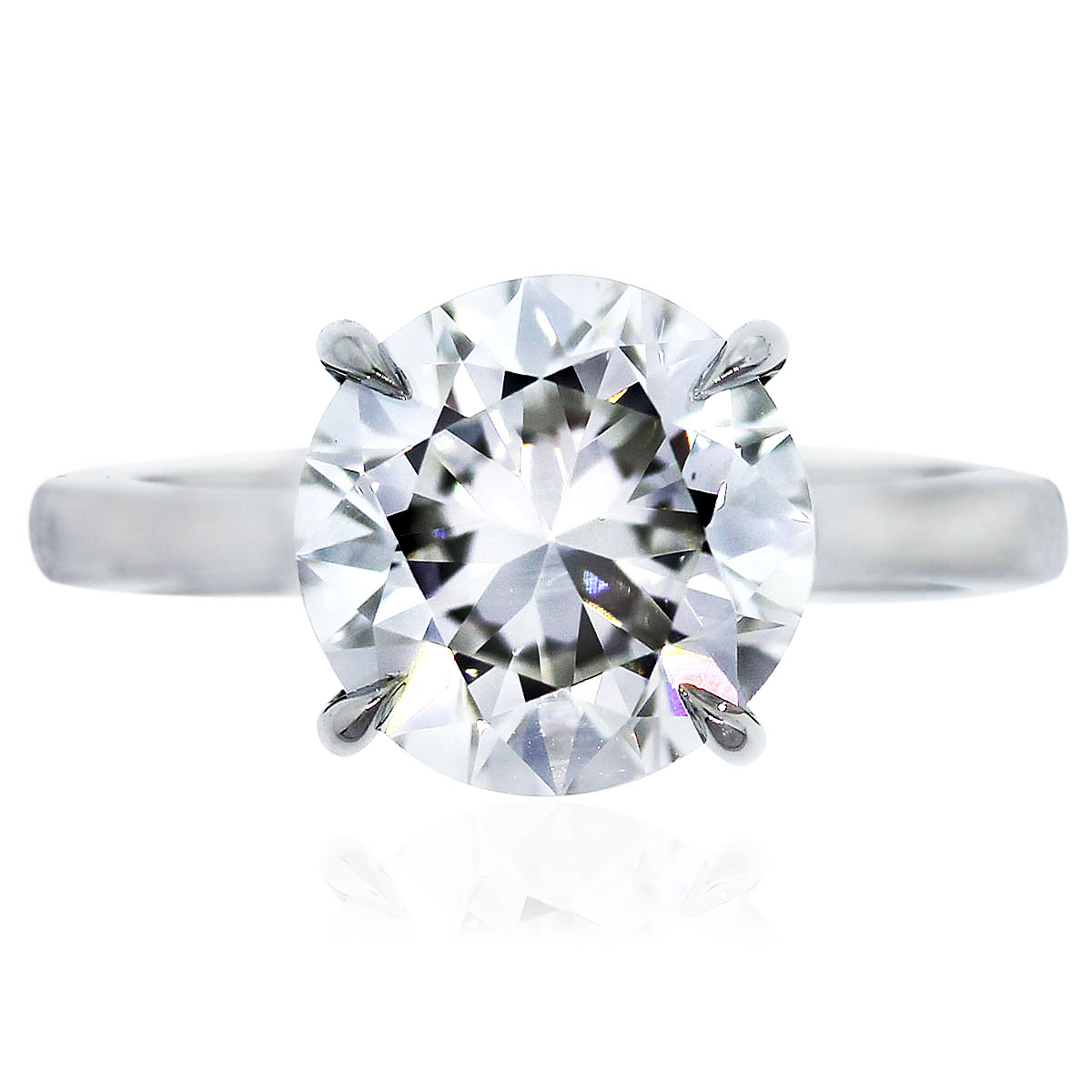 "Image of ""Platinum 3.65ct Round Diamond Engagement Ring Size 6.25"""