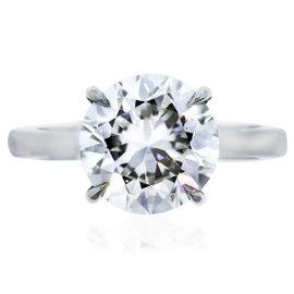 Platinum 3.65ct Round Diamond Engagement Ring Size 6.25