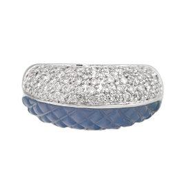 Blue Chalcedony Diamond Ring