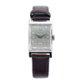 Longines 14K White Gold Diamond Dial Mens Watch