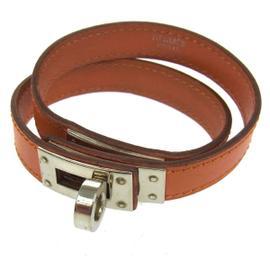 Hermes Logos Leather Bracelet