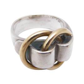 Hermes Sterling Silver Gold Logos Ring