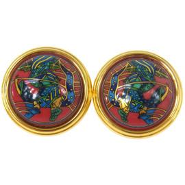 Hermes Logos Cloisonne Ware Enamel Earrings