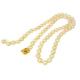 Chanel CC Logos Imitation Pearl Pendant Necklace