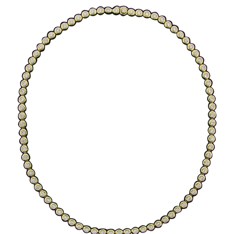 "Image of ""Tiffany & Co. 18K Yellow Gold Round Brilliant Diamonds Tennis Necklace"""