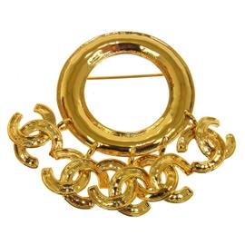 Chanel CC Logos Gold Fringe Motif Brooch Pin