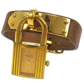 Hermes Kelly Quartz Leather Brown Bracelet Wrist Watch